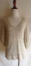 Eileen Fisher Medium Cream Ivory Pebble Linen Blend V-Neck Short Sleeve Sweater