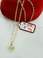 "18k saudi gold 1.33g gold heart stone necklace,, 18""n"