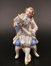 Antique Dresden Lace Muller Volkstedt Germany Flute Lessons Boy Chair Figurine