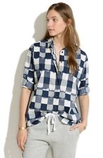 Madewell sz M Oversized Button-Down Shirt in Navy & Ivory Ikat Check Cotton