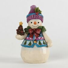 "Jim Shore ""PINECONES AND HOLLY"" ~ Pint Sized Snowman With Pinecone"