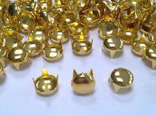 100 7mm GOLD Round Dome Head, Punk, Rock Leather Bag Shoe Studs CRAFT Biker Goth