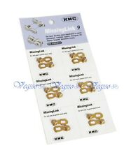NEW KMC MISSING LINK FOR 6.6MM 9 SPEED CHAINS, RE-USABLE - 6PAIRS, GOLD