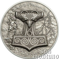 THORS HAMMER 2 oz Ultra High Relief Antique Finish Silver Coin 2017 Cook Islands
