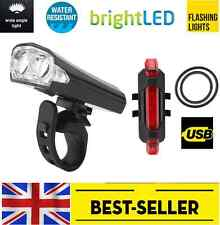 front USB 2 led + rear 5 led rechargeable light set - bright lights flash bike