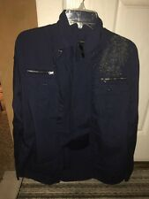 USED INC International Concepts Button Up Shirt Blue Small Long Sleeve Dress Zip