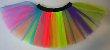 Adults Kids Fancy Dress Tutu Skirt Rainbow Multi Coloured Costume Dance Neon