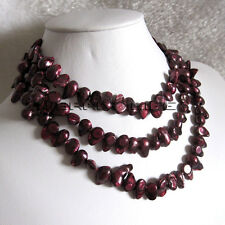 """49"""" 6-8mm Dark Red Baroque Freshwater Mother Of Pearl Necklace B U"""