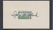 John R. Block, Secretary of Agriculture, signed 3x5 card with 3c Soil stamp