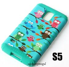 For Samsung Galaxy S5 - HARD & SOFT RUBBER HYBRID SKIN CASE TURQUOISE GREEN OWLS