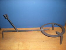 18th C Wrought Iron  Stand w Handle Kettle Pot Pan Hearth Tool Colonial Antique
