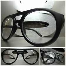 OVERSIZE VINTAGE AVIATOR STYLE Clear Lens EYE GLASSES Matte Black Fashion Frames