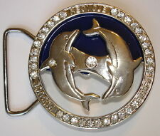 "Buy1, Get 1 FREE Dolphin Belt Buckles with Spinning Crystals ~ Fits 1½"" Belts ~"