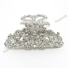 Bridal Wedding White Silver Metal Alloy Rhinestone Crystal Hair Claws Clips NEW