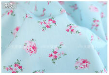 Blue Small Floral Rose Cotton Bed Sheeting Homeware Craft Shabby Chic Fabric