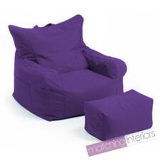 Purple Budget Bean Bag Chair + Foot Stool Gamer Armchair Garden Beanbag Seating