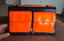 NWT Marc by Marc Jacobs Neon Orange Navy Leather M3121149 Clutch Handbag
