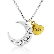 I love you to the moon and back Sister charm pendant necklace BEAUTIFUL GIFT BOX
