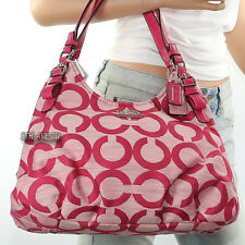NWT Coach Madison Op Art Maggie Shoulder Bag Hand Bag Hobo 17020 Pink New RARE