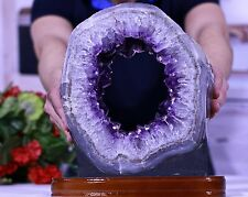 Huge Amethyst Geode Slice w/ Stand 15 lb Outstanding Quality CosmicCuts AC-15