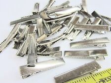 "48 Silver 1.25"" Flat Face Alligator Teeth Small Hair Clip/Bow Supply/Craft L98-C"