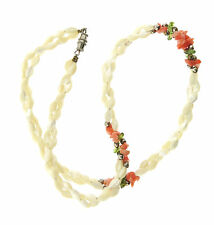 Vintage Mother-of-pearl Rice Bead Necklace wth Coral Chip Peridot Double Strand