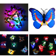 1X 7 Changing Color Cute Stick-on Butterfly Wall Xmas Decor LED Night Light Lamp