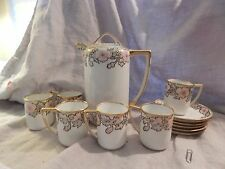 Antique Nippon Hand Painted Chocolate Set Pot, 6 Cups and Saucers Morimura Bros