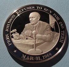 1968 PRESIDENT L B JOHNSON WITHDRAWS Run For 2nd Term SOLID BRONZE  UNCIRCULATED