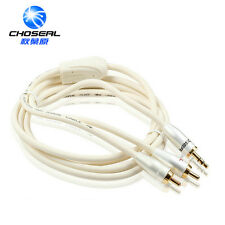 1.8M 5.9FT Stereo Audio Cable 3.5mm male to 2RCA male White High quality