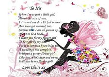 A4 PERSONALISED WILL YOU BE OUR FLOWER GIRL POEM FAIRY'S DESIGN BEAUTIFUL