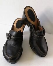Born Women's Expresso Brown Leather Heel Clog W/Buckle Shoes Size US 7 EUR 38
