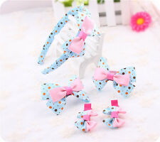 Baby Girl Kids 5pc Large Bow Hair Accessories Set: Headband Clip Bobble/Elastic