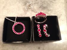 NWT - Avon July Birthstone Jewelry Set Crystal Ruby - Necklace, Earrings & Ring