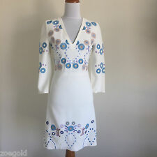 PETER PILOTTO IVORY STRETCH CREPE EMBROIDERED V-NECK 3/4 SLEEVE DRESS US:4 UK:8