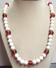 "Vintage 50's Long 24"" White Peach Amber Glass Bead Necklace"