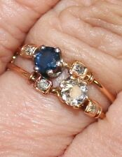 ANTIQUE VICTORIAN FRENCH 18k GOLD SAPPHIRE OLD MINE DIAMOND UNIQUE RING c 1900