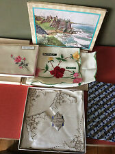 vintage 1950's embroidered Irish linen tray cloths / napkins~ 3 x boxed items