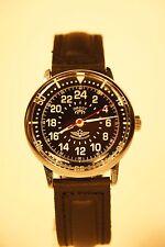 Russian mechanical watch RAKETA PILOT. 24H USSR Black dial. 34 mm
