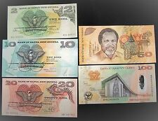 Papua New Guinea Banknotes , 2+10+20+50+100 Kina, UNC-paper money currency