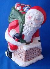 Christmas Village Santa in Chimney Cookie Jar earthenware vintage musical