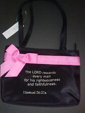 BIBLE Verse PURSE 1Samuel 26:23 a  LORD REWARDS Embroidered Hand BAG  BOW Church