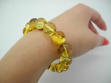 Natural Baltic round amber beads bracelet with insects