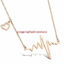Charming Jewelry Rose Gold Heartbeat Women Girl Pendant Necklace Stainless Steel