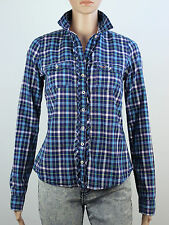 Hollister womens size small blue check long sleeve shirt