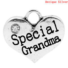 5 ANTIQUE SILVER SPECIAL~GRANDMA HEART CHARMS PENDANT~EMBELLISHMENTS~CHAIN (50)