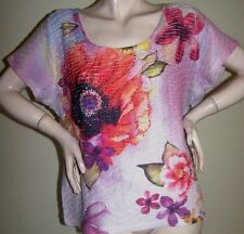 FLORAL KNIT TOP Sz XL Scoop Neck SS Textured-Poly Rhinestones - JM COLLECTION