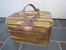 Vintage Metal Picnic Basket - Wooden Handles - Mid Century