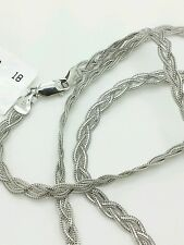 """14k Solid White Gold Braided Foxtail Wheat Necklace Pendant Chain 18"""" 3.5mm"""