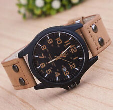 Soki Men Military Watch Amy Sport Date Genuine Leather Dress Quartz Watch @8